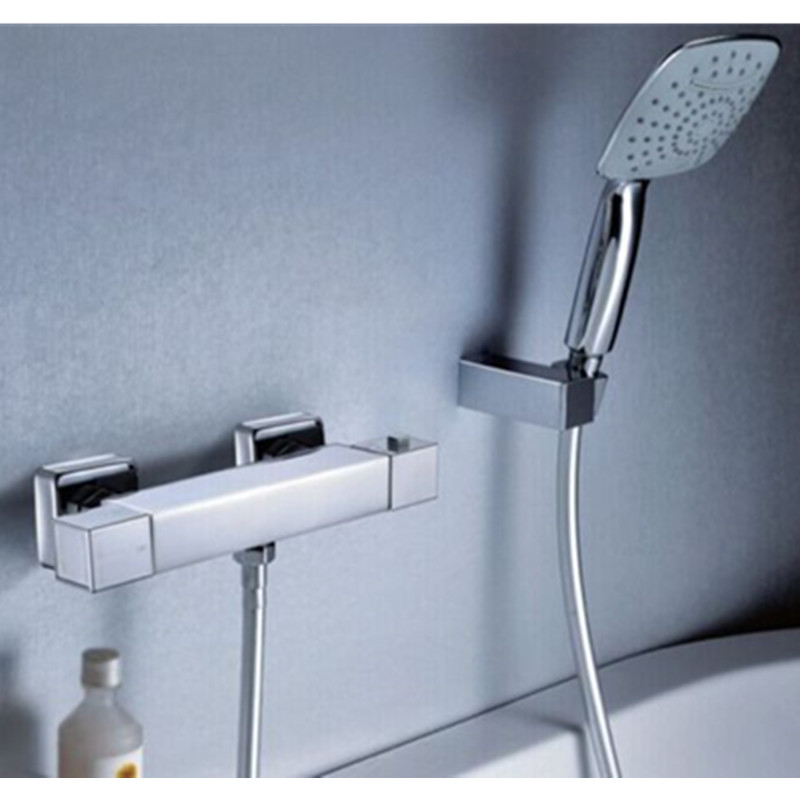 High Quality Bathroom Handheld Shower Head Thermostatic Wall Mounted Brass Mixer Valve with Hand Sprayer Set Chrome Chuveiro china sanitary ware chrome wall mount thermostatic water tap water saver thermostatic shower faucet