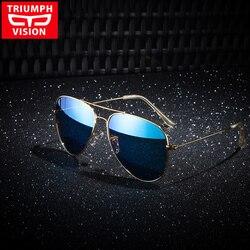 TRIUMPH VISION Polarized Aviator Sunglasses Men Driving Blue Mirror Sun Glasses for men Brand Designer Gold Frame UV400 Shades