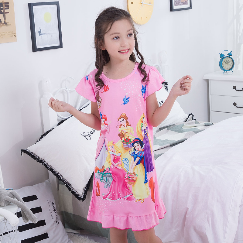Nightgowns for Girls Princess Nightgowns 2018 Summer Short Sleeve Cotton Nightdress Children Sleepwear Kids Cute Sleepshirts spring new women long dress nightgowns white short sleeved nightdress royal vintage sweet princess sleepwear dress free shipping
