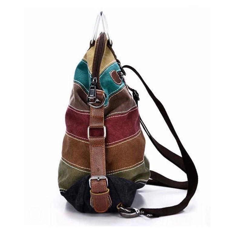 Ethnic k2 Rainbow Backpacks Women Canvas Stripe Packs Casual Girl Crossbody  Bag Fashion Shoulder Rucksack Bolsas Mochila XA1059B-in Backpacks from  Luggage ... b7a71c1d895bd