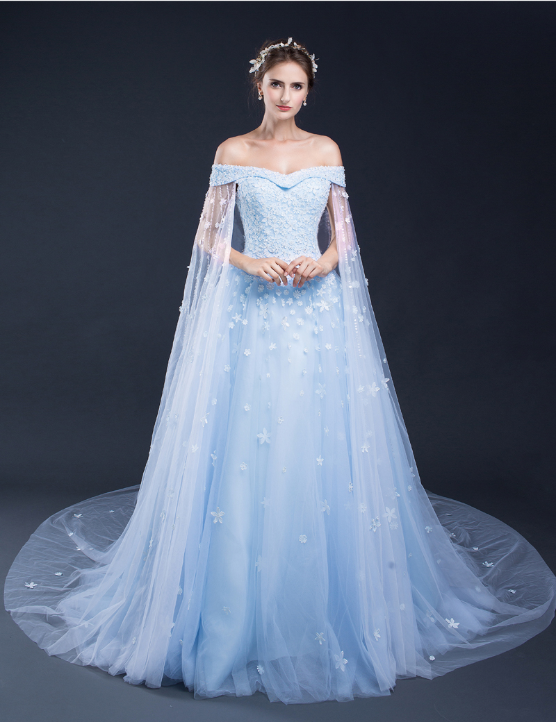 2017 Light Blue Wedding Dresses Off The Shoulder Lace Tulle Lique Floor Length Long Bridal Gowns Vintage Cathedral Train In From