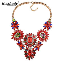 Best lady Luxury Crystal Flower Statement Rhinestone Gem Colorful Collar Choker Women Maxi Good Quality Custom Necklace B248