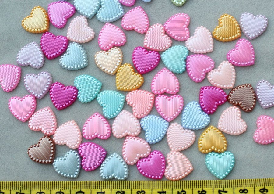 1000pcs Heart pearly pearlised cabochon Cabs mixed colors DIY supply for jewelry making YZ0025 D25