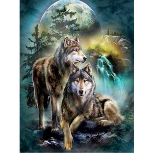 5d pintura diamante lobo rei casal diy diamante bordado artesanato pintura mosaico presente animal diamante arte da parede decoração