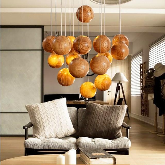 Sexuelle Kreative Echt Holz Pendelleuchte Droplight Kreative Restaurant  Wohnzimmer Holz Lampen Laternen Licht Holz Kronleuchter