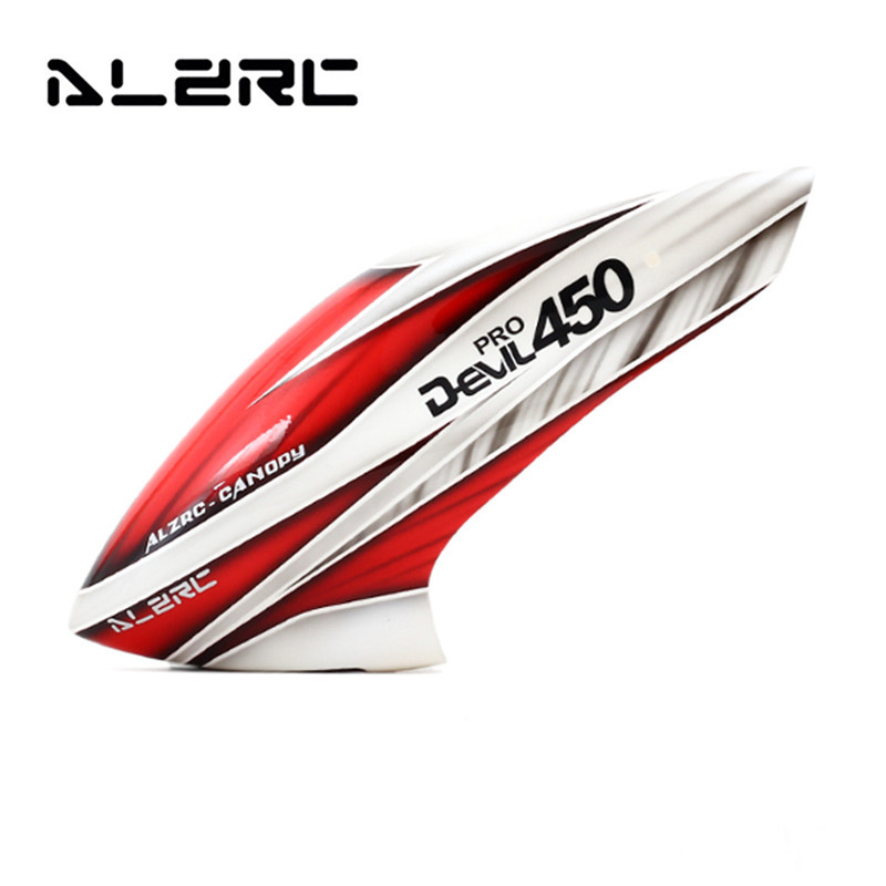 Hot New ALZRC Devil 450 Pro V2 RC Helicopter Parts Fiberglass Canopy Red White For RC Model alzrc devil 380 fast fiberglass painting canopy set s a s b