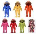 Recién nacido del Muchacho del bebé hacia abajo y parkas cuello de piel de invierno overol ropa del mameluco mamelucos Infantiles del mono de traje para la nieve térmica