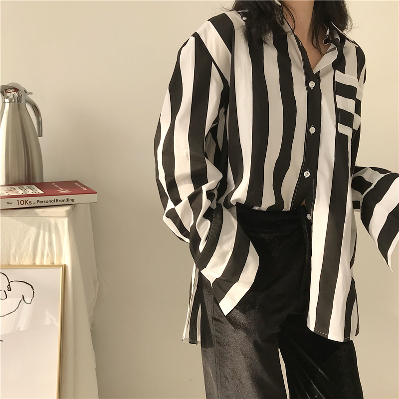Mazefeng 2018 New Spring Women Casual Shirts Female Striped Shirts Loose Turn-down Collar Women Fashional Vintage Shirts Ladies