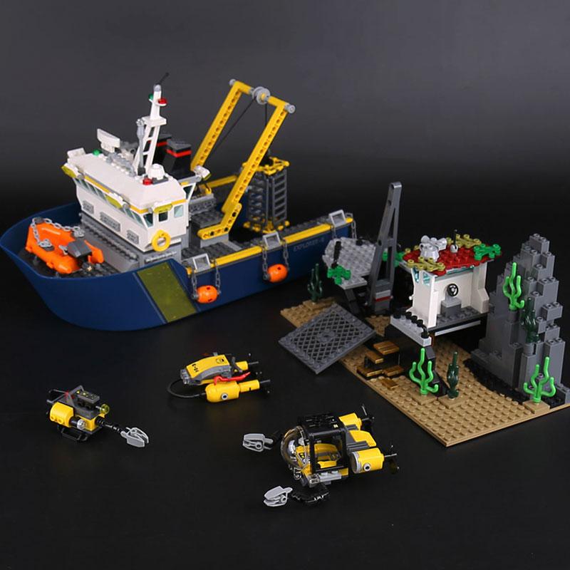 LEPINE 774Pcs CITY Series Deep Sea Exploration Vessel Ship Model Building Blocks Brick Educational Toys for Children 60095 lepin 02012 774pcs city series deep sea adventure boat model building blocks bricks toys for children gift 60095