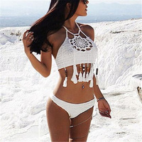 2017 Summer Swimsuits Knitted Beaded Tassels Bikini Set Women Fashion Beach Hollow Out Fringe Bodycon Crop