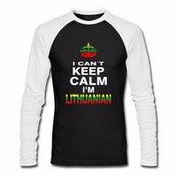 Herren Raglan Shirts NICHT HALTEN SIE RUHE ICH BIN LITAUISCH Litauen Vilnius Land Flagge lustiges T SHIRTS Individuell Ihre Text T-Shirt