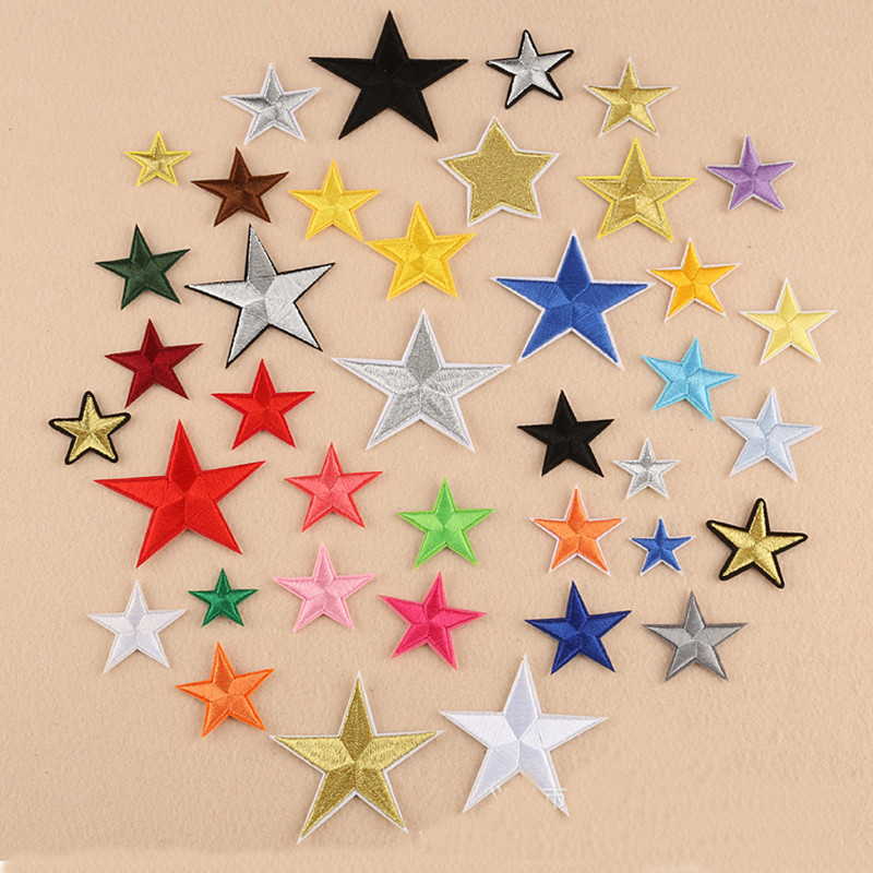 Many Colors Stars Repair Badge Patch Embroidered Patches For Clothing Iron On Close Shoes Bags Badges Embroidery DIY