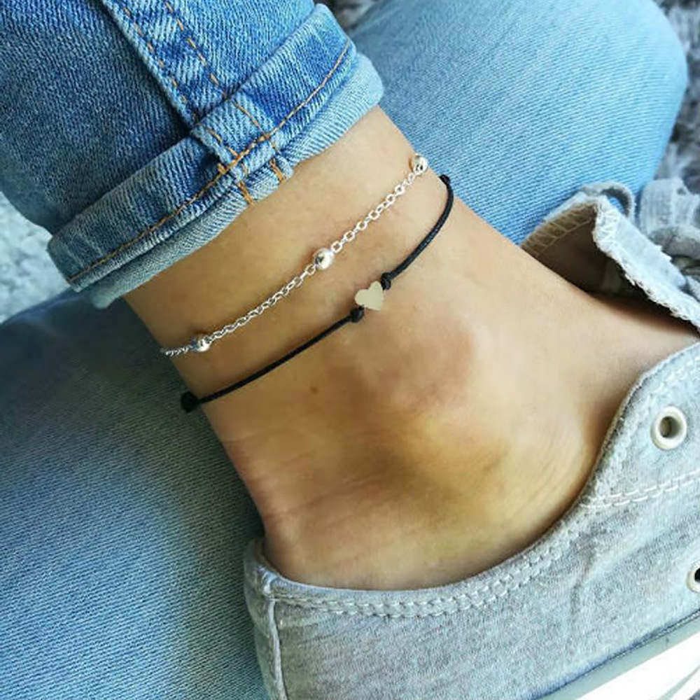 Double Ankle Chain Heart Pendant Black Leather Rope Anklet 2019 Fashion Foot Jewelry Bracelet on The Leg Anklets New Hot
