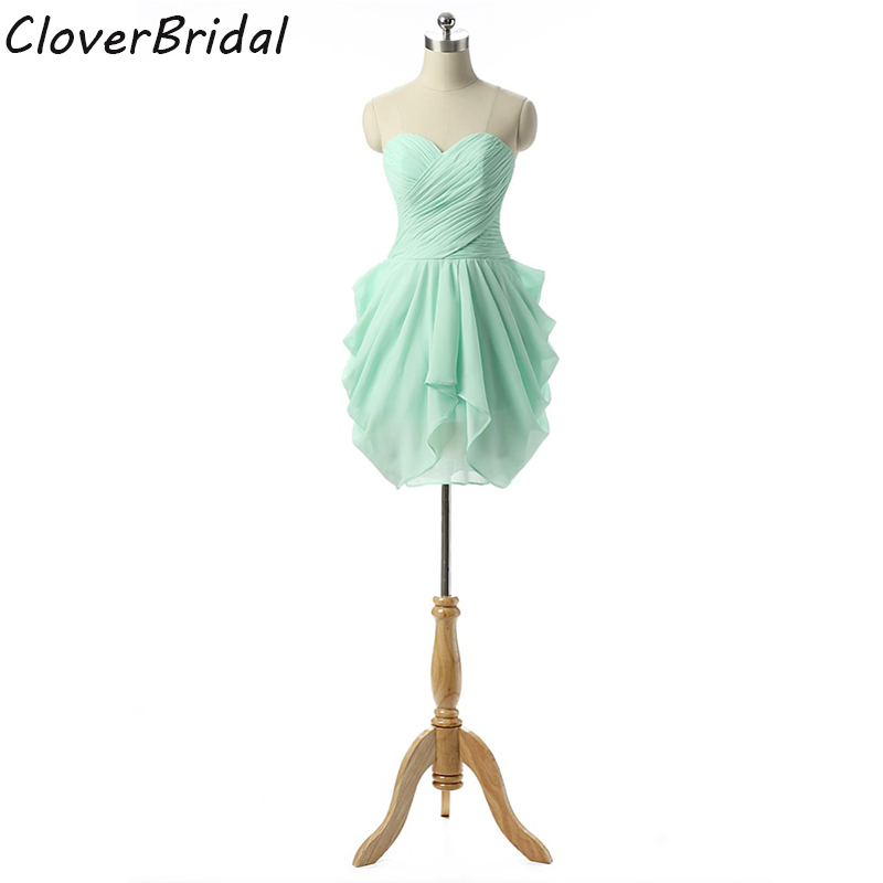 Sweetheart Chiffon Barato Verde Vestidos De Fiesta Cortos Elegantes 2015 Real Photos Ready-to-ship
