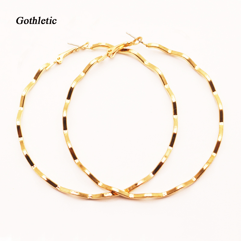 Gothletic Fashion 60MM 65MM 70MM Gold color Big Textured Circle