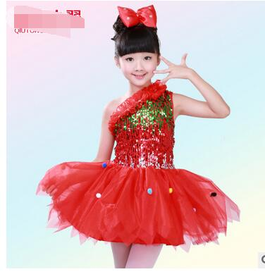1pcs/lot free shipping children one shoulder latin dress sequin performance dancing dress candy color
