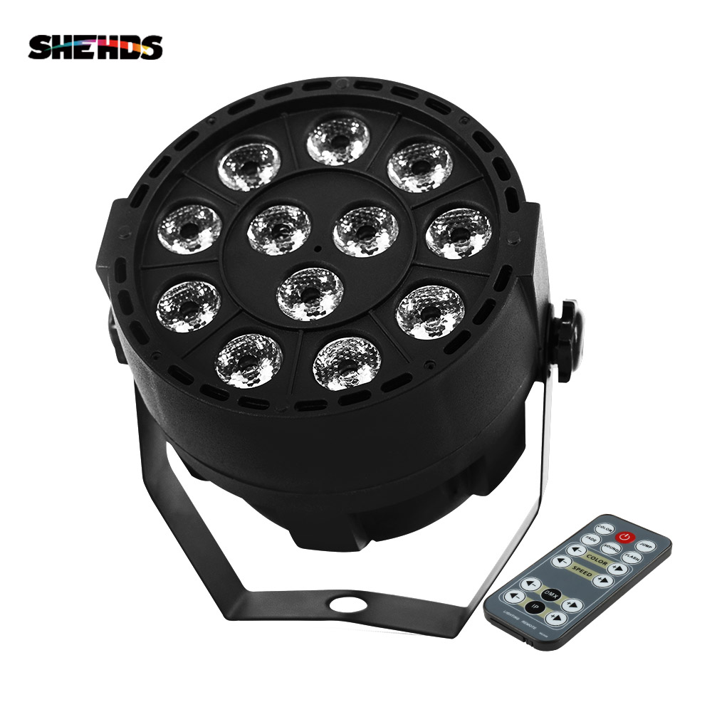 SHEHDS 12x3W RGBW LED Flat Panel Wireless Remote Control DJ LED Stage Light DMX512 Control Music Activation Family Party Lights