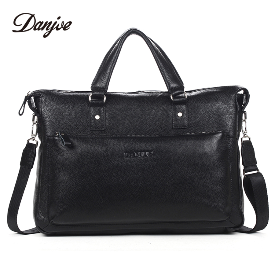 Здесь можно купить  DANJUE Fashion Cowhide Men Briefcase Genuine Leather Brand Classics Black Handbag For Businessman Fashion Big Capacity  Камера и Сумки