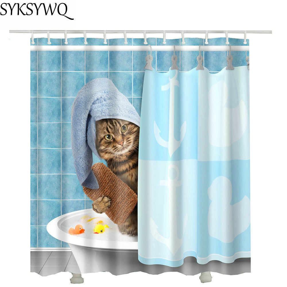 cutely pet cat take bath Shower Curtains drop shopping Creative Waterproof Polyester Fabric Shower Curtain Bathroom