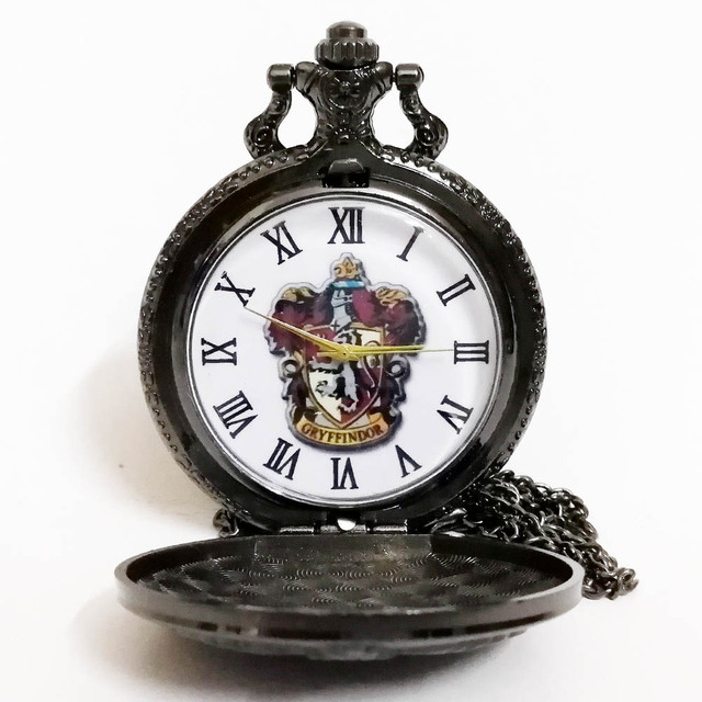 Harry Potter Hogwarts Gryffindor School Lion Black Color Dial Quartz Pocket Watc