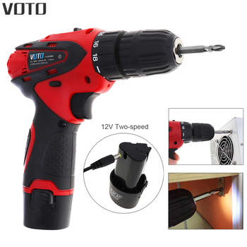 VOTO AC 100 - 240V Cordless 12V Electric Drill Screwdriver with Adjustment Switch and Two-speed Adjustment Button for Punching voto ac 100 240v cordless 12v electric drill screwdriver with adjustment switch and two speed adjustment button for punching
