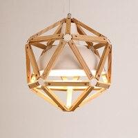 Vintage loft Japanese Style Diamond 35/45cm pendant light Oak Wood IRon Shade Retro lamp E27 110/220V Cord Hanging light fixture