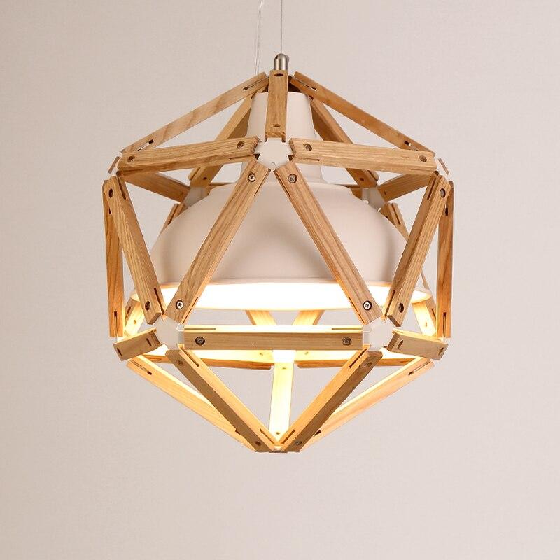Vintage loft estilo japonés diamante 35/45cm luz colgante de madera de roble Pantalla de hierro Retro lámpara E27 110/220V cable colgante accesorio de luz