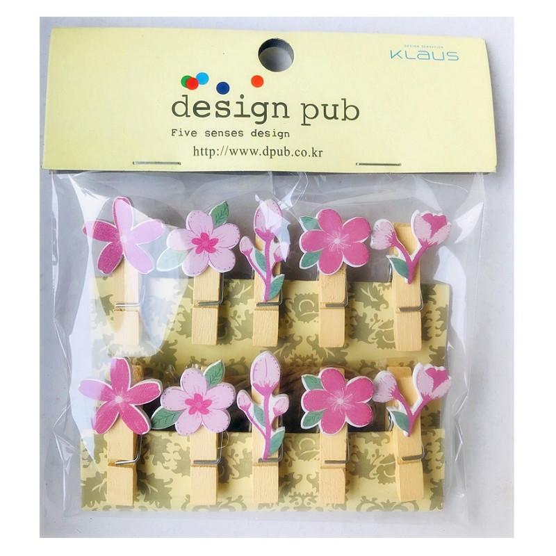 10 Pcs/Set Creative Cherry Blossoms Wooden Clip Photo Clips Party Decoration Clip With Hemp Rope