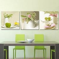 Sans cadre 3 pz frutta e fiori mur art immagine stampa su tela pittura casa moderna pitture murali décoratif par la cucina