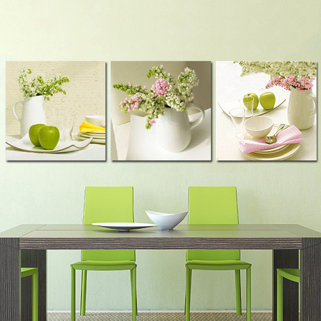 Unframed 3 pz frutta e fiori wall art immagine stampa su tela ...