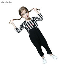 Girl Clothes Set Spring Autumn  long-Sleeved T-shirt coat 2018 New Girl Striped Bottoming shirt strap Harem Pants Kids Clothing new arrival simple style children s long sleeved shirt spring fall girl collar striped shirt girl blouse 5 10y