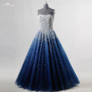 Image 2 - RSE197 Yiaibridal Elegant Bling Bling Silver Beading Readt To Ship Stock Dress Long Royal Blue Prom Dress