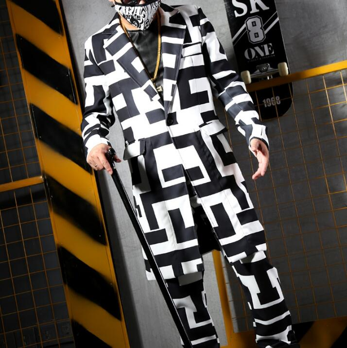 Géométriques And De Noir Mode Nuit Pants Suit Costume Dj Blazers Nouveau Hommes Blanc Chanteur Motifs Blazer Costumes Pantalon costume q1XTH6w6