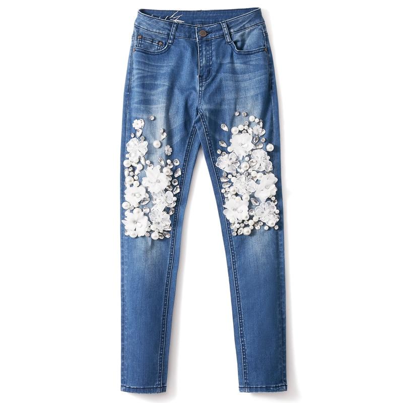 Mujeres Con De Stretch Flor Casuales La Denim Blanco Pantalones Los Rebordear Moda Nuevas 2018 Mujer TF57dnBqT