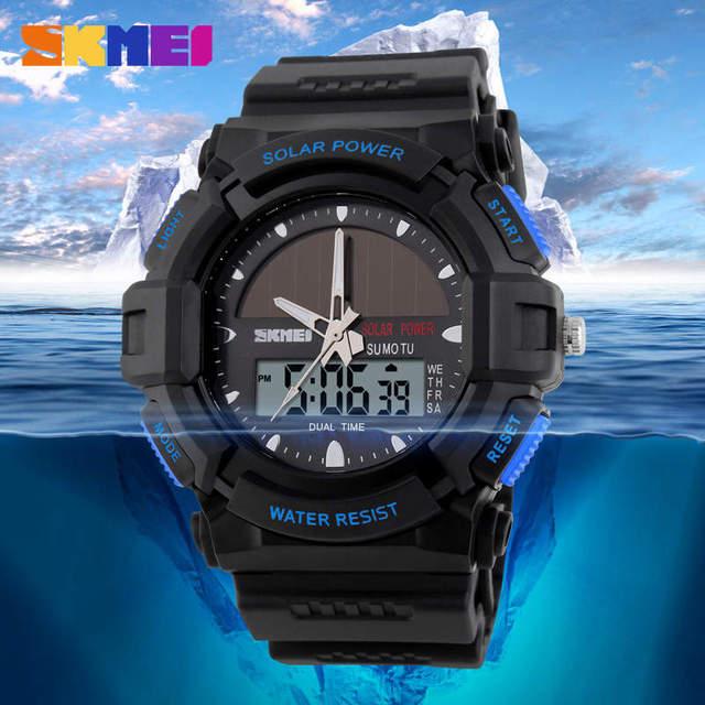 SKMEI Solar Panels Watch Swim 50M Waterproof Men's Watches Double Display Quartz