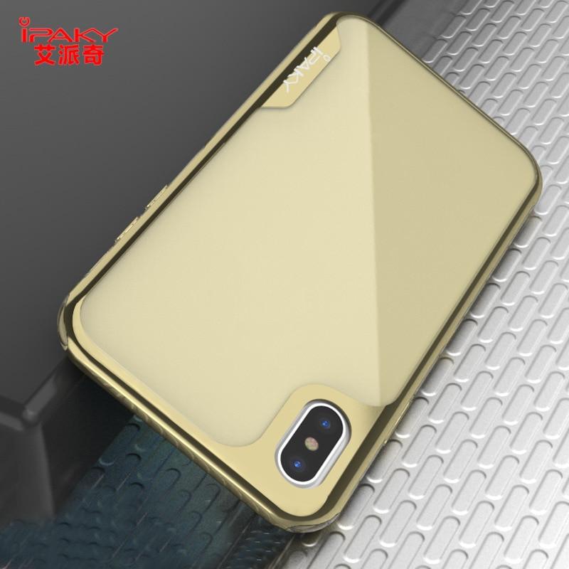 IPAKY Case para iPhone X 6 S 8 7 plus Capa de Silicone Completo Electroplate Bumper TPU Tampa Traseira Para o iphone 6X7 8 Plus transparente