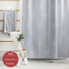 LIANGQI Modern 3D digital printing shower curtain Level 5 waterproof Geometric thickening Bathroom partition accessories