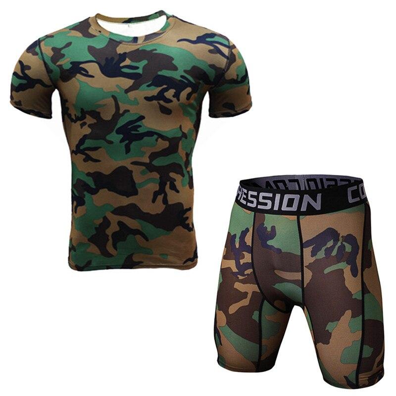 Newest Camouflage sport suit Fitness Compression Sets T Shirt Men 3D Printed Sportswear Set Gyms Short