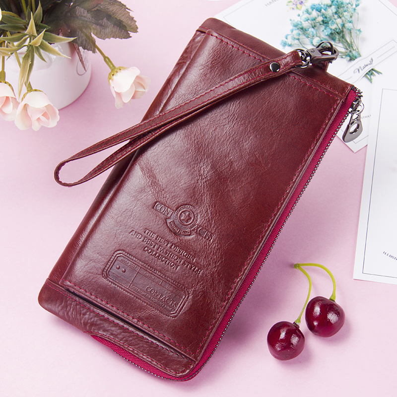 Female Long Coin Purse Genuine Leather Women Wallet Big Capacity Money Bag With Phone Pocket Fashion Card Holder Clutch Wallets fashion women leather wallet female long card holder big stone wallets casual clutch zipper coin purse