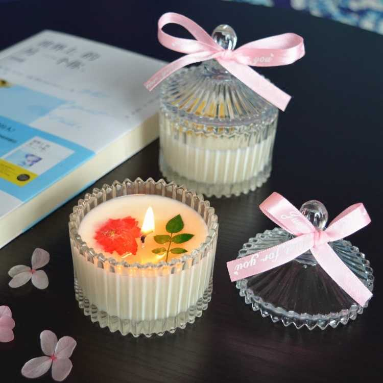 New Creative Scented Birthday Weddings Candles Flameless Candles Glass Holder Leaves Dried Flowers Party Birthday Decoration