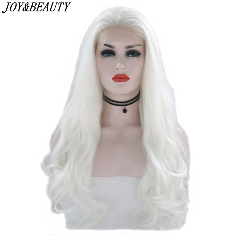 JOY&BEAUTY White Pink Red Long Wig Synthetic Lace Front Wig  Heat Resistant Fiber 26