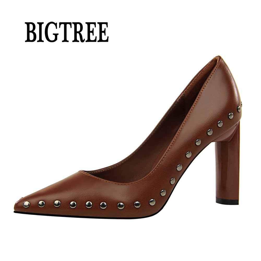BIGTREE 2018 New Womens Classic Pumps Point Toe PU Rivets 9CM Square High Heel Working Dress Office Evening Shoes woman 122-2 pu patchwork high heel womens rivets sandals