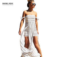 Sexy new summer white beach vichy boho Vintage chiffon dresses 2128 Hot casual A line party dress female Off shoulder RV0215