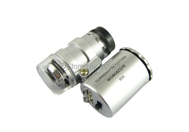 Mini 60X Currency Detecting Microscope 60 Times Loupe LED UV Light Jewelry Magnifier Reading Glass With PU Leather Pouch