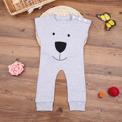 0-18M Newborn Autumn Winter sleeveless Rompers Cute Toddler Baby Girl Boy Bear Jumpers Rompers Playsuit Outfits Clothes