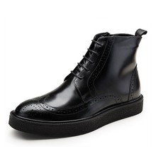 New Fashion Winter Autumn Boots Mens Cow Genuine Leather Brogue Martin Ankle Boots Lace Up Male Shoes Big Size JS-A0119 new 2017 zipper black autumn winter mens ankle boots genuine leather casual shoes mens motorcycle boots brogue high dunk shoes