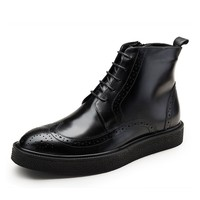 New Fashion Winter Autumn Boots Mens Cow Genuine Leather Brogue Martin Ankle Boots Lace Up Male Shoes Big Size JS A0119