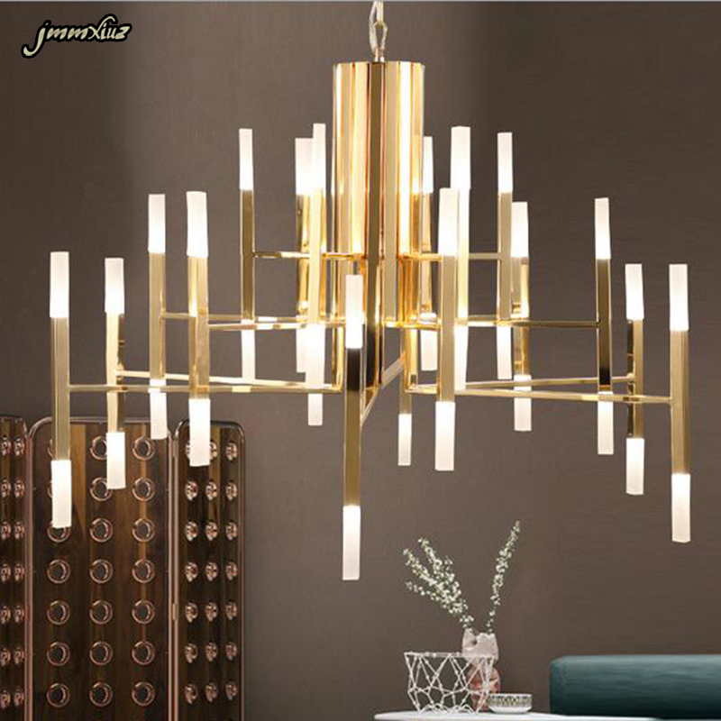 Nordic Postmodern LED Art Villa Chandelier Living Room Lobby Restaurant Gold Creative Personality Tube Lights