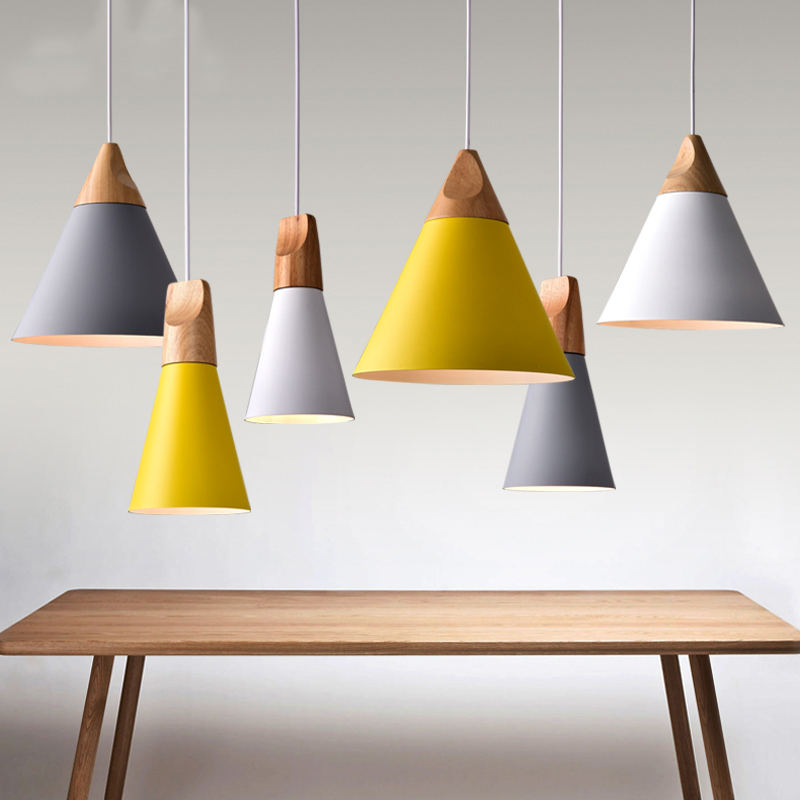 Nordic Pendant Lights Wood Aluminum Lampshade Industrial