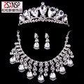 Freeshipping grande borla cristal conjuntos de jóias de noiva grande tiara colar brincos de três peças define acessórios do casamento